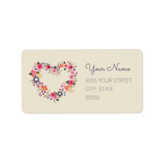 Floral Heart Address Label