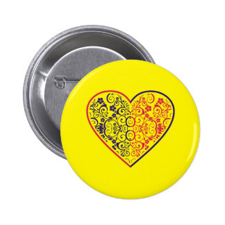 Floral Heart 6 Cm Round Badge