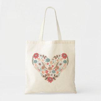 Floral Heart Bag Budget Tote Bag
