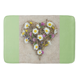 Floral heart bath mat