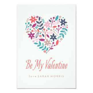"Floral Heart Classroom Valentine 3.5"" X 5"" Invitation Card"