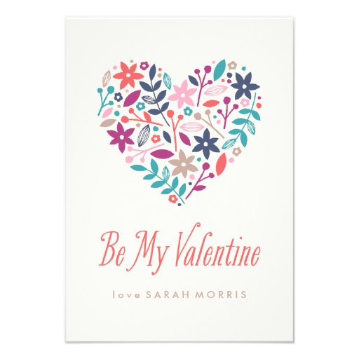 Floral Heart Classroom Valentine's Day Card Personalized Invitations