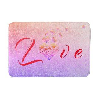 Floral Heart Colourful Bathroom Mat