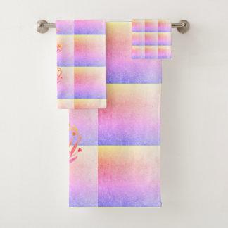 Floral Heart Colourful Bathroom Towel Set