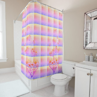 Floral Heart Colourful Shower Curtain