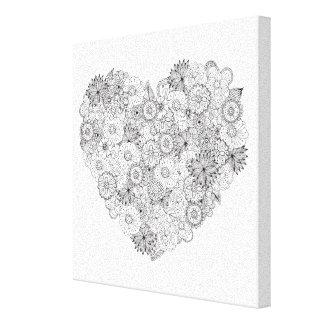 Floral Heart Doodle 6 Canvas Print