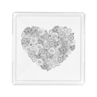 Floral Heart Doodle Acrylic Tray