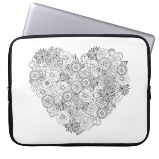 Floral Heart Doodle Laptop Sleeve