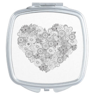 Floral Heart Doodle Mirror For Makeup