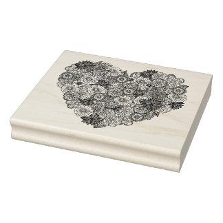 Floral Heart Doodle Rubber Stamp