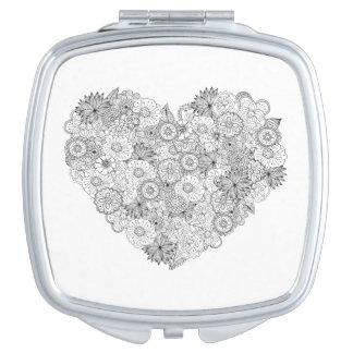 Floral Heart Doodle Vanity Mirror