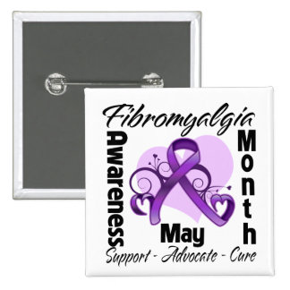 Floral Heart - Fibromyalgia Awareness Month 15 Cm Square Badge