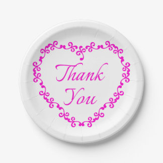 Floral Heart Hot Pink And White Thank You Wedding 7 Inch Paper Plate