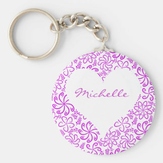 Floral heart in purple white with a name basic round button key ring