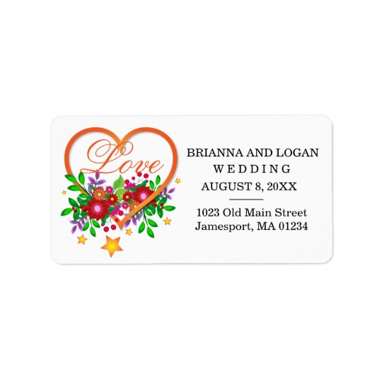 Floral Heart Love Wedding Return Address Labels