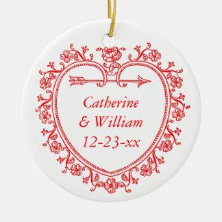 Floral Heart Romantic Christmas Bride Groom Year Round Ceramic Decoration