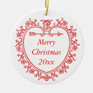 Floral Heart Romantic Christmas Commemorative Year Christmas Ornament