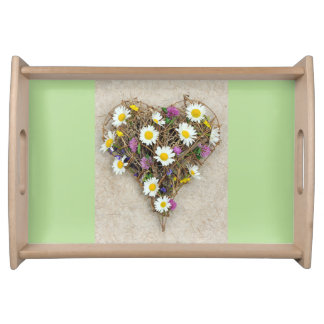 Floral heart serving tray