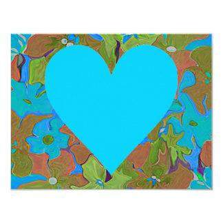 Floral heart shape arrangements for valentines 11 cm x 14 cm invitation card