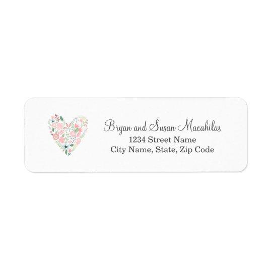Floral Heart Wedding Return Address Label