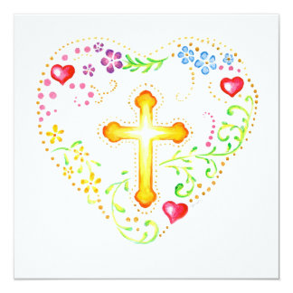 Floral Heart with Cross 13 Cm X 13 Cm Square Invitation Card