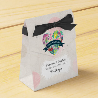 Floral Heart with Tropical Flowers Wedding Thanks Favour Box