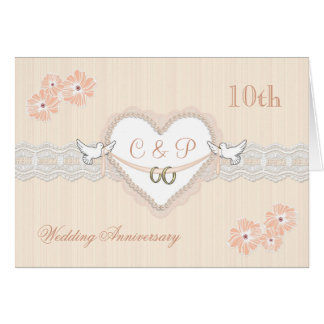 Floral, hearts and doves 10th Wedding Anniversary Greeting Card