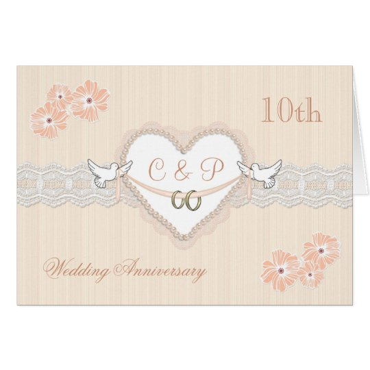Floral, hearts and doves 10th Wedding Anniversary Card