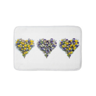 Floral hearts bath mat