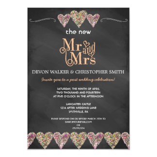 Floral Hearts Chalkboard Post Wedding Invitation