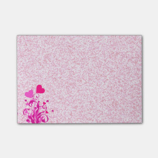 Floral Hearts on Sparkly Pink Post-it® Notes