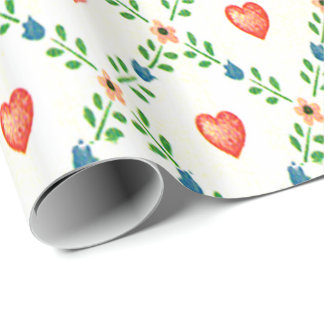 Floral Hearts Gift Wrap
