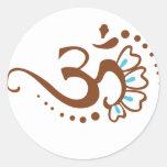 Floral Henna Om Classic Round Sticker
