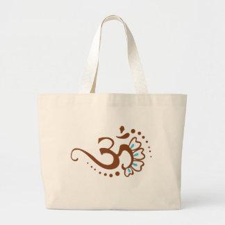 Floral Henna Om Large Tote Bag