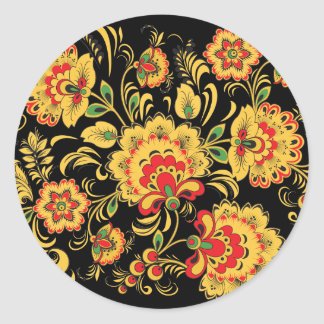 Floral Hohloma Classic Round Sticker