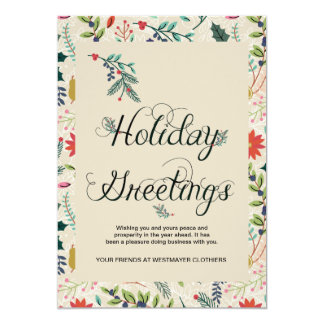 Floral Holiday Greetings Business Corporate Card 13 Cm X 18 Cm Invitation Card