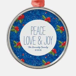 Floral Holiday Pattern Christmas Ornament