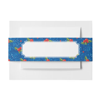 Floral Holiday Pattern Invitation Belly Band