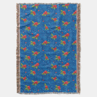 Floral Holiday Pattern Throw Blanket