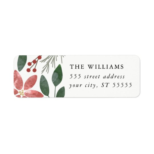 Floral Holiday - Return address label