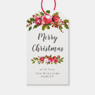 Floral Holly Leaf Christmas Gift Tags