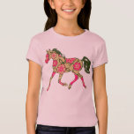 Floral Horse Girls Baby Doll (Fitted) Tee Shirts