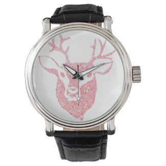 Floral Illustrated Deer Head Watch