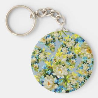 Floral illustration basic round button key ring
