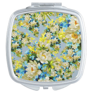 Floral illustration compact mirror