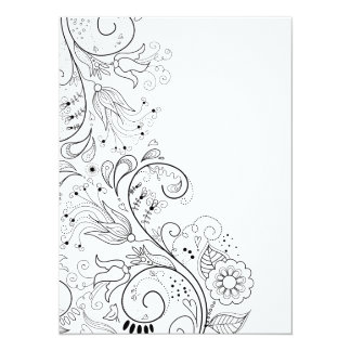Floral Illustration Flourish Flower Lines Spring Personalized Announcements