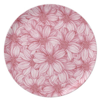 Floral Illustrative Print Party Plates