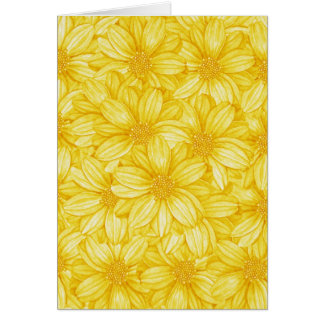 Floral Illustrative Yellow Print Card