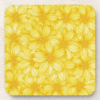 Floral Illustrative Yellow Print Drink Coasters