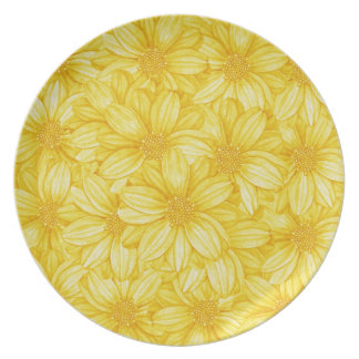 Floral Illustrative Yellow Print Party Plates